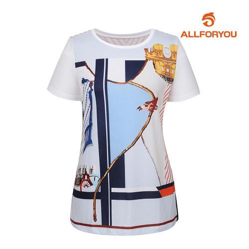 [올포유]여성 프린트 반팔 티셔츠 AWTRH6158-100_G
