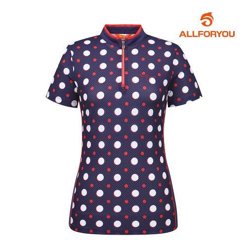[올포유]여성 도트 집업 반팔 티셔츠 AWTHH6121-915_G