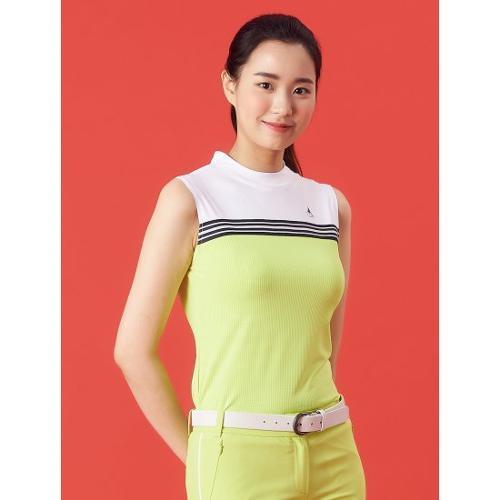 [빈폴골프] 여성 애플 그린 냉감 믹스 슬리브리스 티셔츠 (BJ1442A17K)