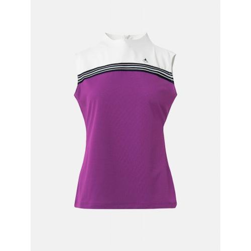 [빈폴골프] 여성 마젠타 냉감 믹스 슬리브리스 티셔츠 (BJ1442A17W)