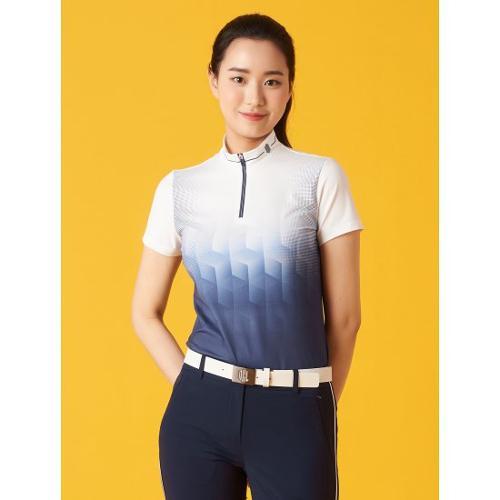 [빈폴골프] [NDL라인] 여성 네이비 그라데이션 반집업 티셔츠 (BJ1342L51R)
