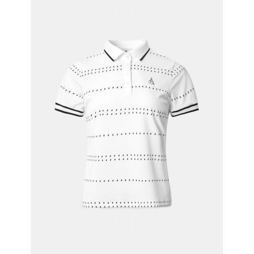 [빈폴골프] 여성 화이트 도트 스트라이프 칼라 티셔츠 (BJ1442A721)