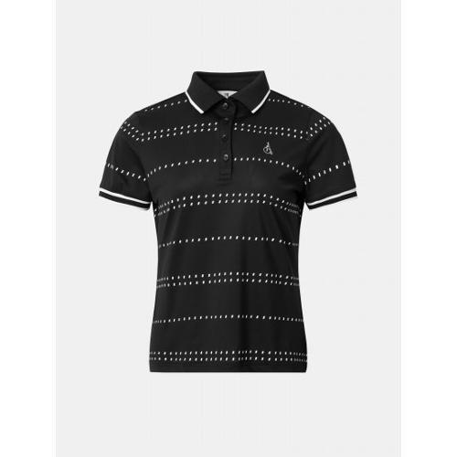 [빈폴골프] 여성 블랙 도트 스트라이프 칼라 티셔츠 (BJ1442A725)