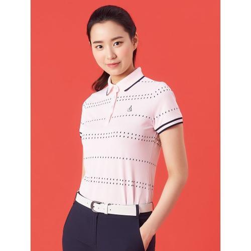 [빈폴골프] 여성 핑크 도트 스트라이프 칼라 티셔츠 (BJ1442A72X)