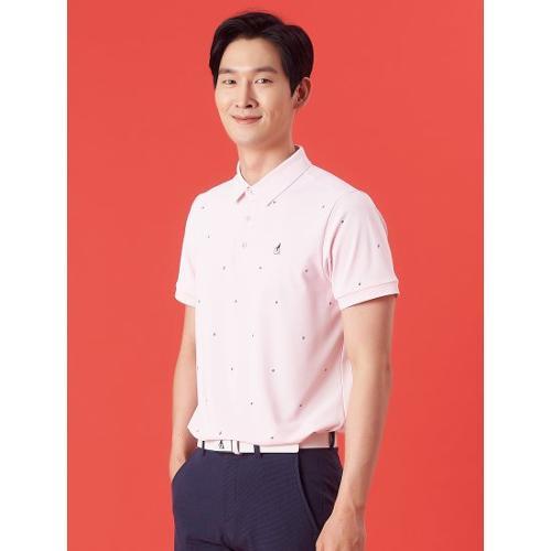 [빈폴골프] 남성 핑크 레터링 로고 프린트 칼라 티셔츠 (BJ1442B73X)