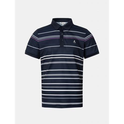 [빈폴골프] 남성 네이비 멀티 스트라이프 칼라 티셔츠 (BJ1442B11R)