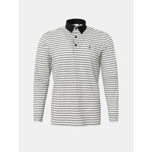 [빈폴골프] 남성 아이보리 시어서커 스트라이프 칼라 티셔츠 (BJ1341B110)