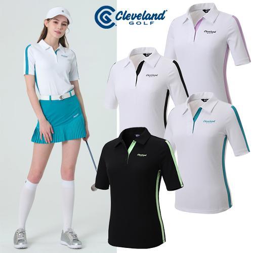 [클리브랜드골프] 컬러배색 냉감골지 여성 5부 반팔티셔츠/골프티셔츠/골프웨어_CGKWTS1074
