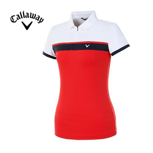 [캘러웨이]여성 컬러 블록 반집업 반팔 티셔츠 CWTYH6194-500_G
