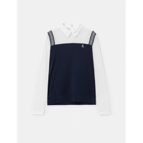 [빈폴골프] 여성 네이비 메쉬 믹스 올인원 티셔츠 (BJ1441A13R)