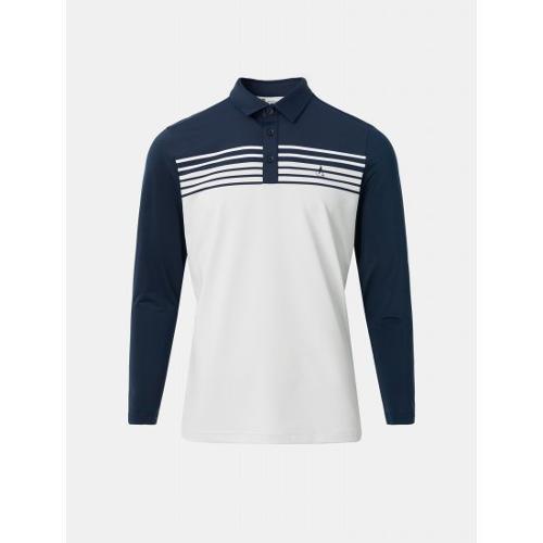 [빈폴골프] 남성 네이비 블록 스트라이프 칼라 티셔츠 (BJ1441B12R)