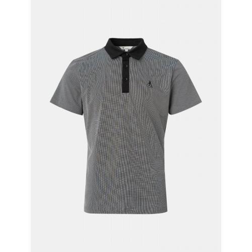 [빈폴골프] 남성 블랙 투톤 도트 에센셜 칼라 티셔츠 (BJ1442B755)