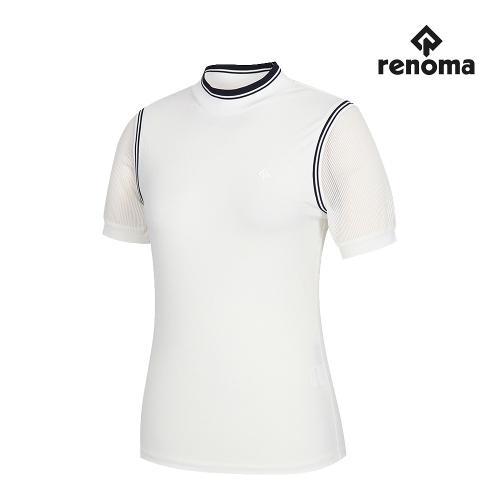 [레노마골프]여성 소매 메쉬 하이넥 반팔 티셔츠 RWTHJ6136-100_G