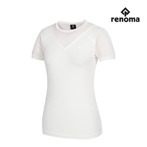 [레노마골프]여성 V절개 메쉬 패치 반팔 티셔츠 RWTRJ6115-100_G