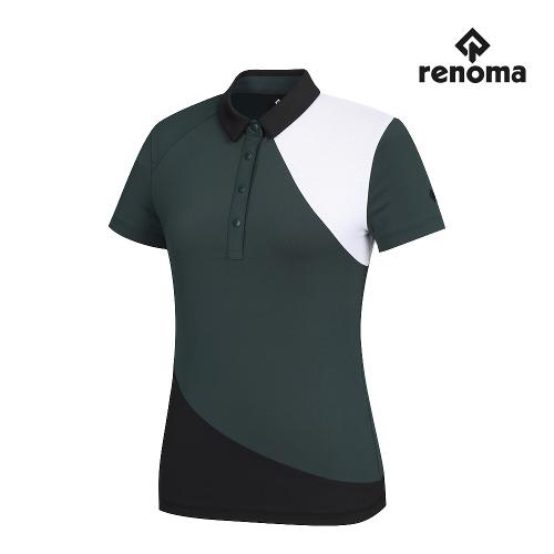 [레노마골프]여성 사선 컬러블럭 카라 반팔 티셔츠 RWTYJ6111-819_G