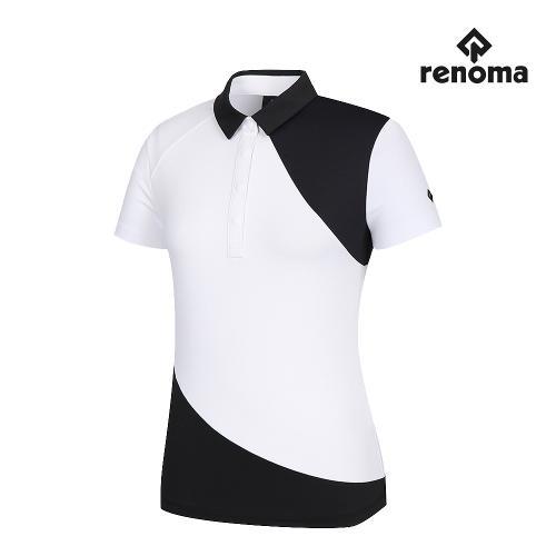 [레노마골프]여성 사선 컬러블럭 카라 반팔 티셔츠 RWTYJ6111-100_G