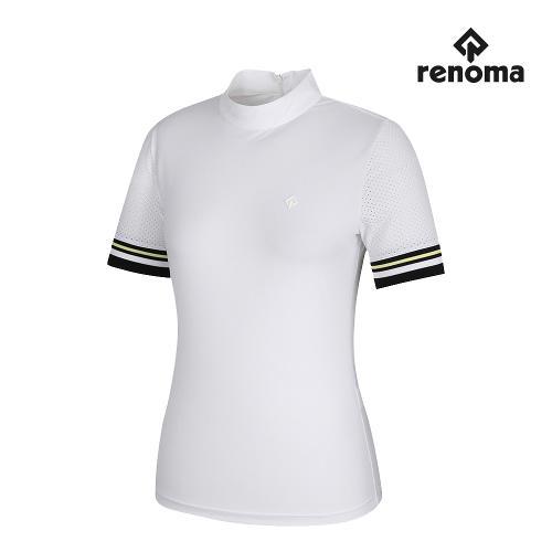 [레노마골프]여성 펀칭 하이넥 반팔 티셔츠 RWTHJ6104-100_G