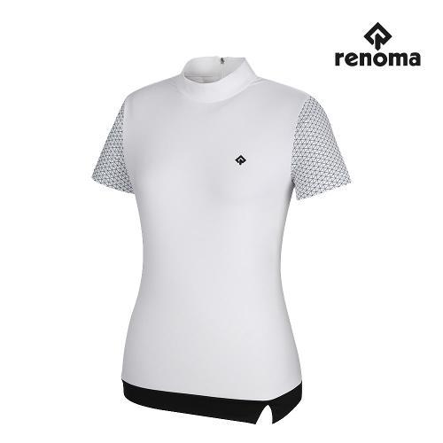 [레노마골프]여성 배색 하이넥 반팔 티셔츠 RWTHJ6103-100_G