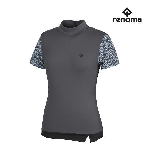 [레노마골프]여성 배색 하이넥 반팔 티셔츠 RWTHJ6103-195_G