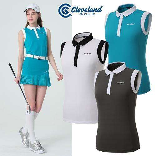 [클리브랜드골프] 암홀 넥라인 컬러배색 여성 3버튼 민소매 티셔츠/골프웨어_CGKWTS1085