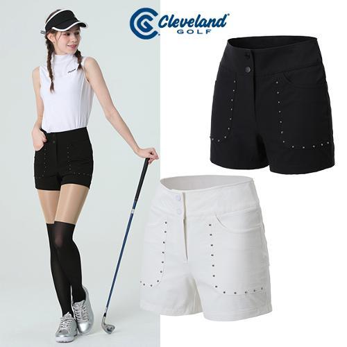 [클리브랜드골프] 포켓 금속장식 하이웨스트 여성 숏반바지/골프팬츠_CGKWPT1105