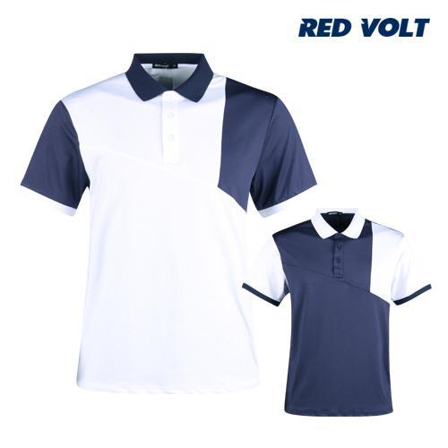 레드볼트 남성 배색 반팔 골프 카라셔츠 RM1M410