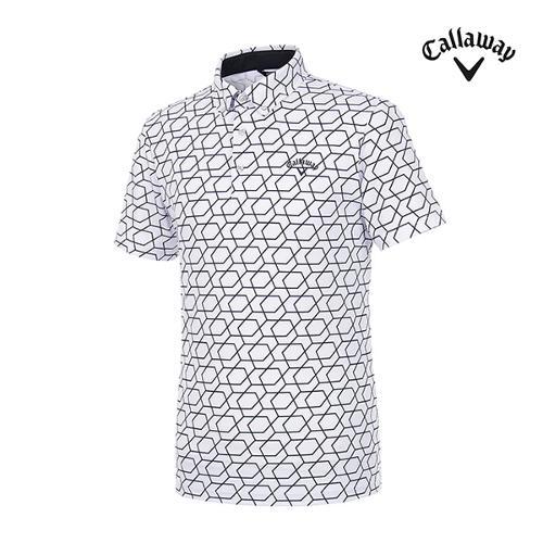 [캘러웨이]남성 가하학 반팔 카라 티셔츠 CMTYI2369-100_G