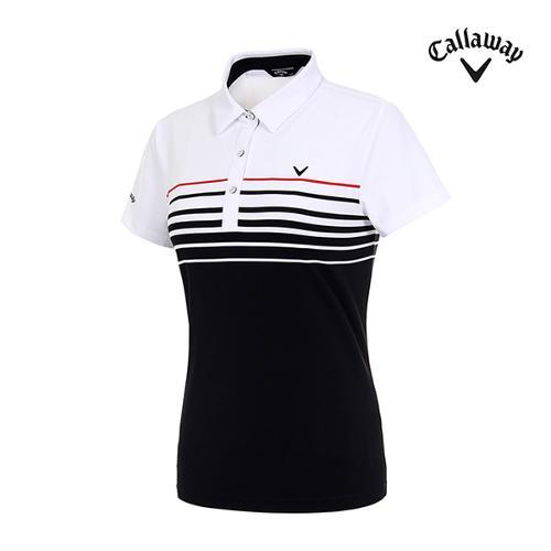 [캘러웨이]여성 스트라이프 반팔 티셔츠 CWTYI6359-100_G