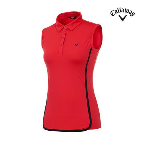 [캘러웨이]여성 배색 트리밍 카라 티셔츠 CWTYI6351-500_G