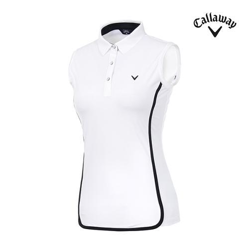 [캘러웨이]여성 배색 트리밍 카라 티셔츠 CWTYI6351-100_G
