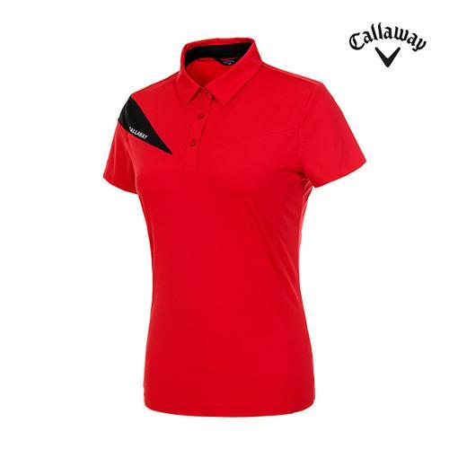 [캘러웨이]여성 컬러 배색 반팔 티셔츠 CWTYI6142-500_G