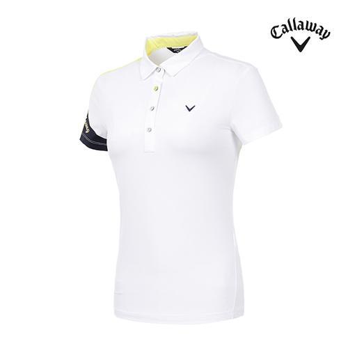[캘러웨이]여성 로고 소매 반팔 티셔츠 CWTYI6254-100_G