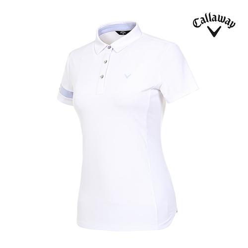 [캘러웨이]여성 배색 반팔 소매 티셔츠 CWTYI6243-100_G