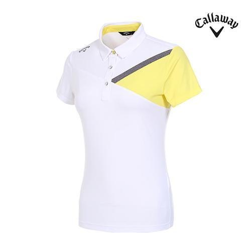 [캘러웨이]여성 컬러 블러킹 반팔 티셔츠 CWTYI6348-100_G