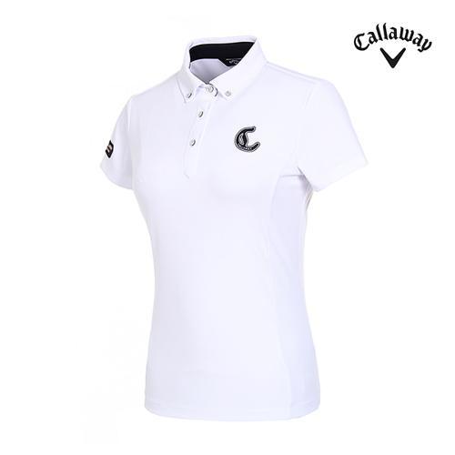 [캘러웨이]여성 로고 솔리드 와플 티셔츠 CWTYI6353-100_G