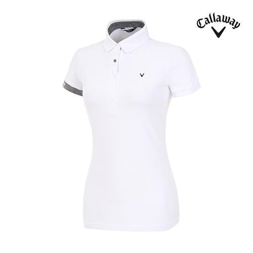 [캘러웨이]여성 스냅 버튼 반팔 티셔츠 CWTYI6242-100_G