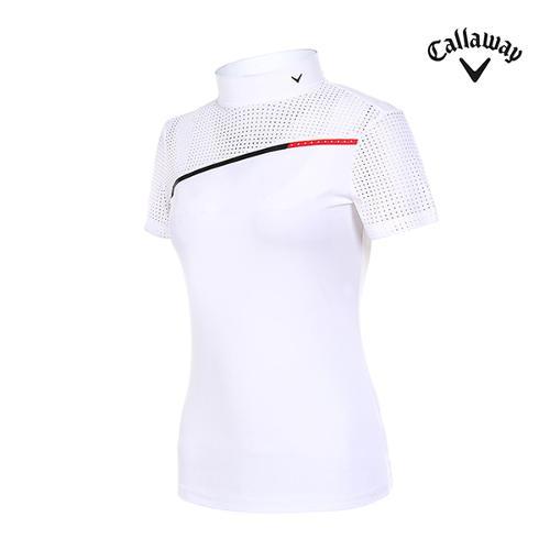 [캘러웨이]여성 펀칭 도트 하이넥 반팔 티셔츠 CWTHI6145-100_G