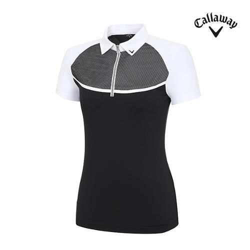 [캘러웨이]여성 상단메쉬 반집업 티셔츠 CWTYH6107-100_G