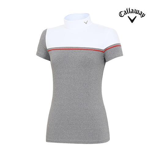 [캘러웨이]여성 반넥 스퀘이 배색 티셔츠 CWTHH6151-100_G