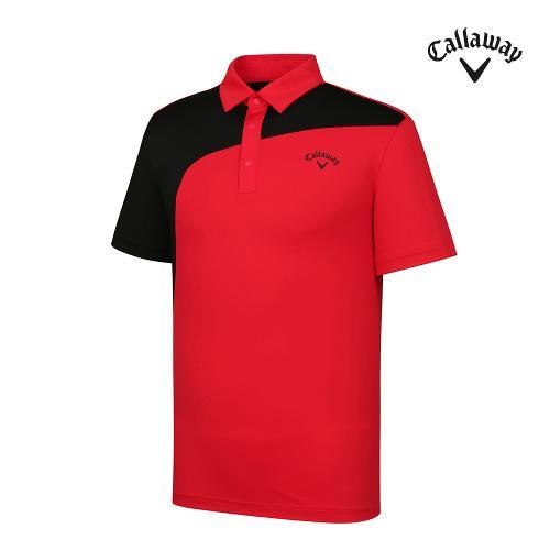 [캘러웨이]기획 남성 컬러블럭 카라 반팔 티셔츠 CMTYJ2442-500