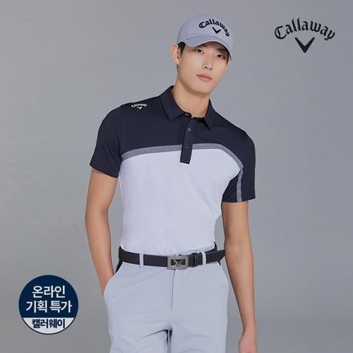[캘러웨이]기획 남성 뒷판 매쉬 배색 반팔 티셔츠 CMTYJ2444-100_G