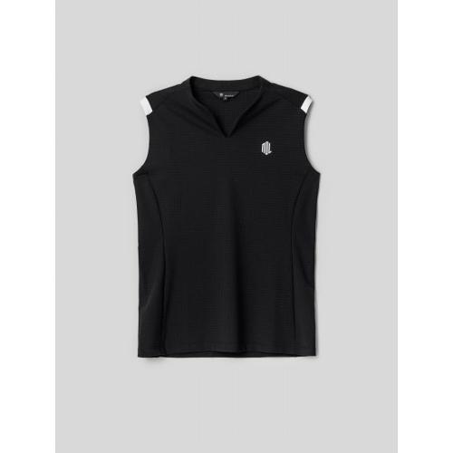 [빈폴골프] [NDL라인] 여성 블랙 홀메쉬 슬리브리스 티셔츠 (BJ1442L545)
