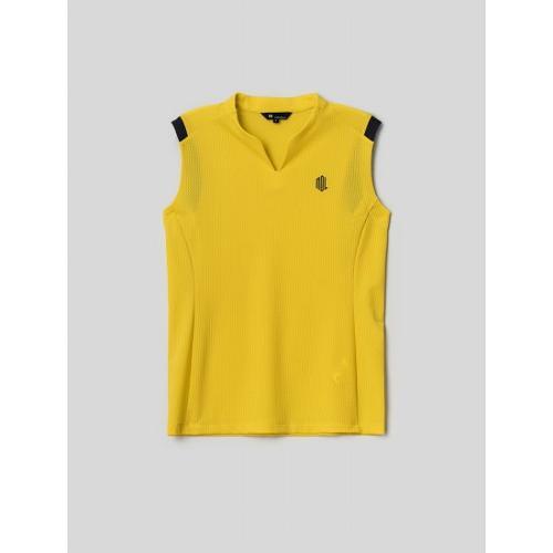 [빈폴골프] [NDL라인] 여성 옐로우 홀메쉬 슬리브리스 티셔츠 (BJ1442L54E)
