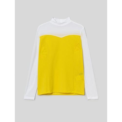 [빈폴골프] [NDL라인] 여성 옐로우 홀메쉬 올인원 냉감 티셔츠 (BJ1441L53E)