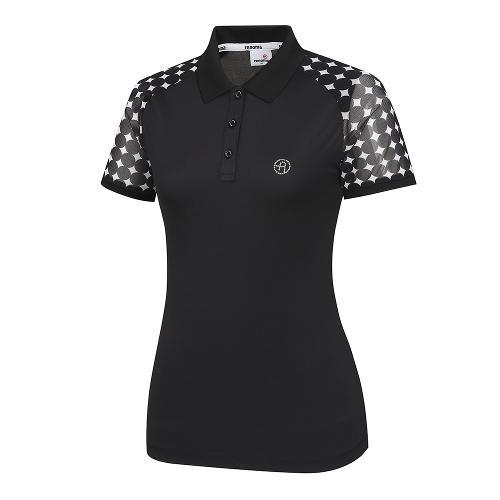 [레노마골프]여성 패턴 시스루 카라 반팔 티셔츠 RWTPI6109-199_G