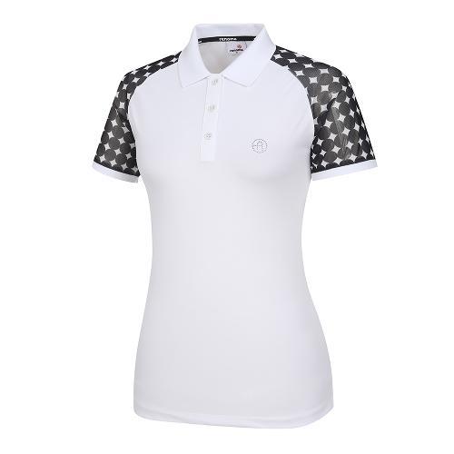 [레노마골프]여성 패턴 시스루 카라 반팔 티셔츠 RWTPI6109-100_G