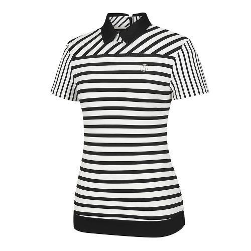[레노마골프]여성 스트라이프 패턴 카라 반팔 티셔츠 RWTYI6118-199_G