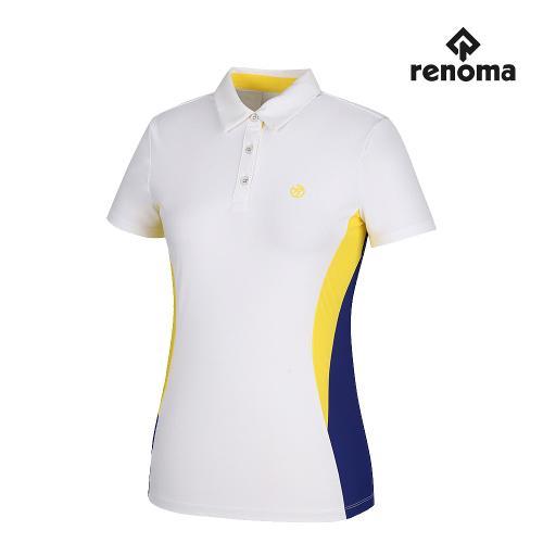 [레노마골프]여성 배색 포인트 카라 반팔 티셔츠 RWTYH6114-100_G