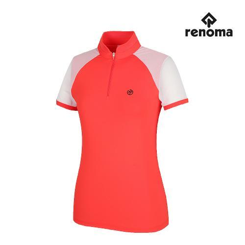 [레노마골프]여성 소매 메쉬 반집업 반팔 티셔츠 RWTRH6116-301_G