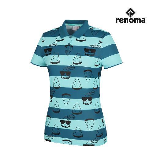 [레노마골프]여성 스트라이프 패턴 나염 카라 반팔 티셔츠 RWTPH6126-904_G